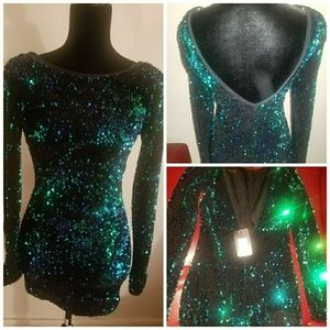 Blue and Green Sequence Dress